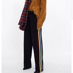Zara Flowing Pants with Rainbow Side Stripe